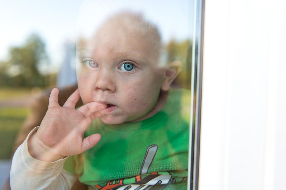 Nyfiken bakom fönstret